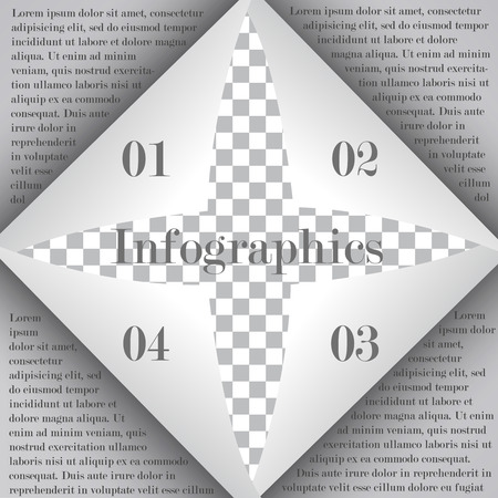 curled paper: Page curl with shadow on blank sheet of paper for infographic. The curled paper folded from four corners with text and 4 options. Business template Illustration