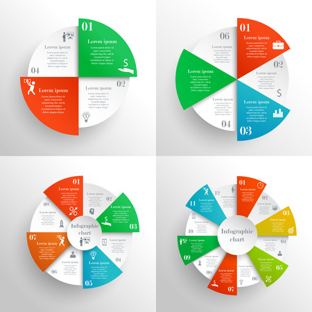 8 12: Circle infographics set. Can be used for workflow layout, parts, steps or processes, banner, chart, web design. Template for cycle diagram, graph and presentation with 4, 6, 8, 12 options