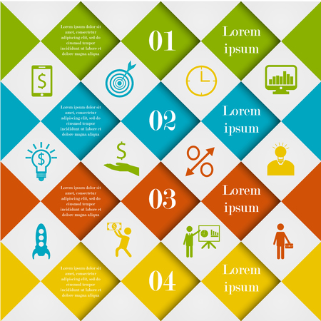 medley: Abstract digital rhombus infographic template. Diamond vector illustration can be used for workflow layout, number options, web design. Business concept with 4 options, parts, steps or processes