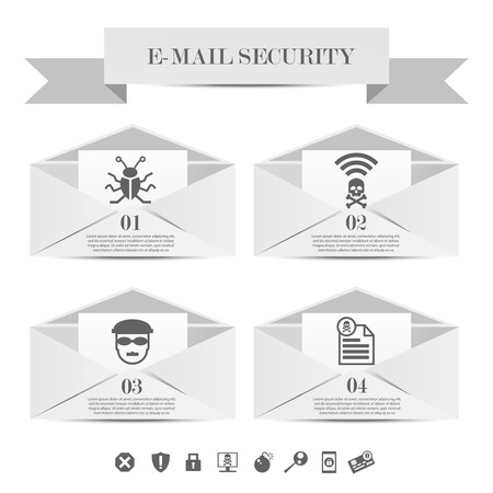 email security: Abstract envelope set e-mail security concept. Email protection from spam