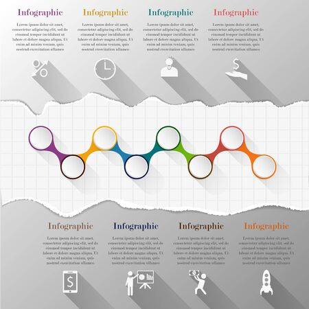 lacerated: Timeline infographic template with torn paper. Template for diagram, graph, presentation and chart. Business concept with 8 options, parts, steps or processes. Abstract background.