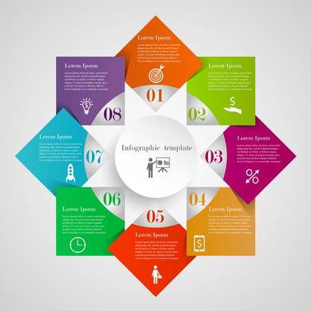 Infographic circle diamond flowchart template with 8 options, icons and text. Can be used for workflow layout, banner, chart, web design. Circle rhombus business concept Illustration