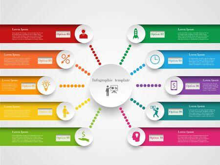 Infografisch ontwerp sjabloon. Concept met 10 opties, stappen of processen. Kan gebruikt worden voor workflow layout, diagram, stap-up opties, web design. Bedrijfselementen Stock Illustratie