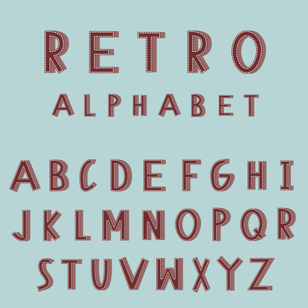embroidered: Retro embroidered alphabet vector font. Vector typography for headlines, posters, labels. Vintage style Illustration