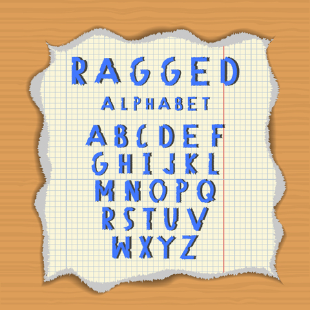 lacerated: Ragged paper alphabet. Torn latin letters on lacerated piece of paper. Wood background