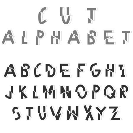 sliced: Cut sliced alphabet. Dissected vector font on white background