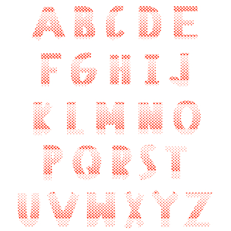 headlines: Red hearts alphabet on a white background. Latin letters consist of hearts. Elements of typography for cards, headlines, posters, labels and postals. Love font style