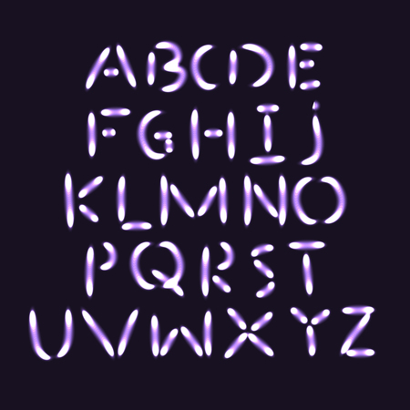 headlines: Flash light alphabet. Bright luminous vector font. Vector typography for festive headlines, posters or cards Illustration