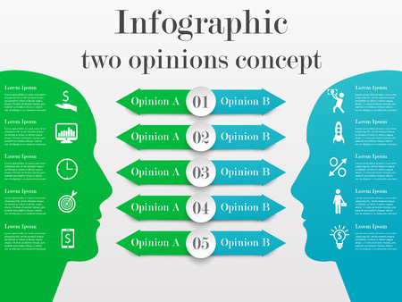 opinions: Infographic two opinions concept. Business template with 5 options for each side. Solution of the problem from two opposite points of mind