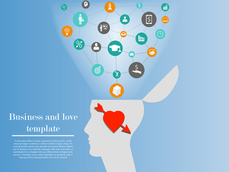 can not: Business and love template. Illustration of business man in love who can not think about career and affairs and lose his professional skills. Concept of one side of connection of love and business Illustration