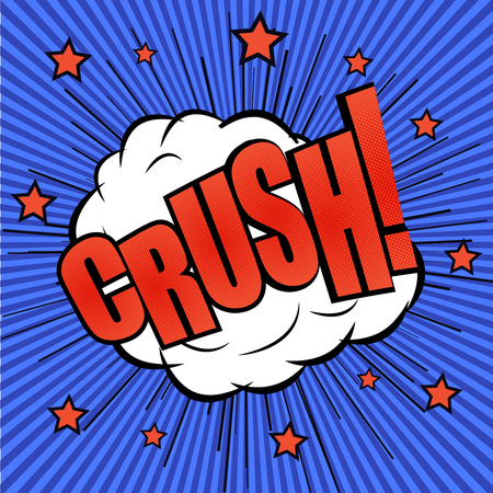crush on: Crush comic wording effect. The cartoon with explosion of bubble with stars and funny background. Template for web and mobile applications
