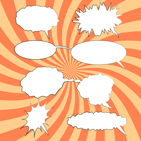 splash page: Set of comic speech bubbles on funny spiral background . Can be used for web and mobile applications. Pop art style