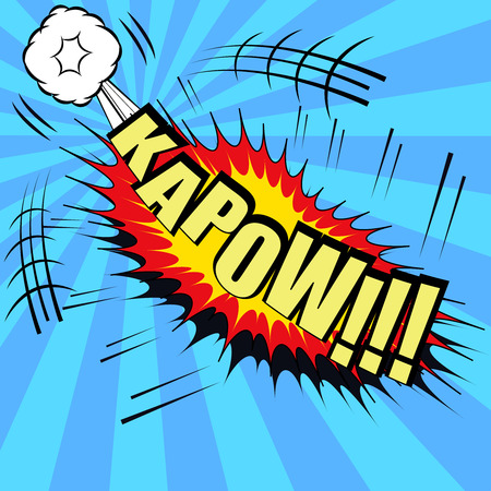 kapow: Kapow comic bubble text. Pop art style. The cartoon with exploding clouds and and funny spiral background. Template for web and mobile applications