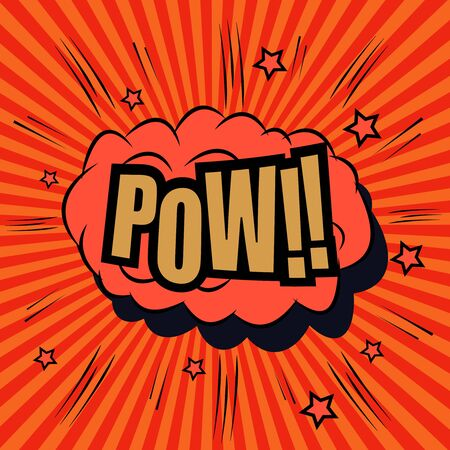 pow: Pow comic bubble text. Pop art style. The cartoon with sound effects and funny spiral background. Template for web and mobile applications
