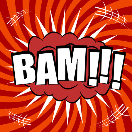 Bam comic bubble text. Pop art style. The cartoon with speech cloud on funny spiral background. Template for web and mobile applications