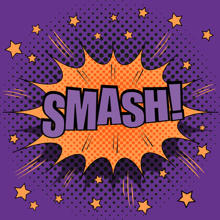 comix: Smash comic retro text. The illustration of comic hit with sound effects, stars and purple halftone background. Pop-art style