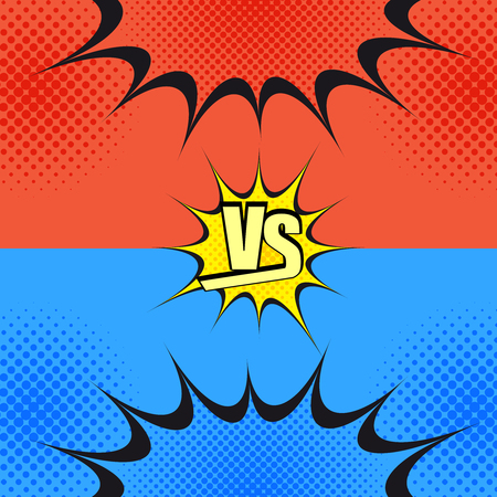 Versus wording comic fight template. Cartoon background with opposite sides. Representation of two confrontate warriors before battle. Pop-art style