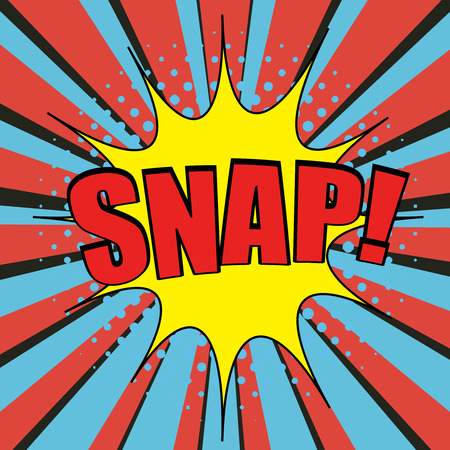 snap: Snap comic bubble text. Pop-art style. The cartoon with halftone and funny cartoon background with shadows. Template for web and mobile applications