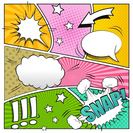 sounds: Comic book background. Mock-up of strip book page with speech bubbles, sounds and colored halftone effects. Pop-art style