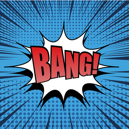 bang: Bang comic bubble text. Pop art style. Radial lines background. Explosion vector illustration. Halftone effect