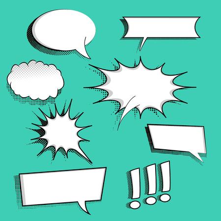Set van komische tekstballonnen op halftone achtergrond. Kan worden gebruikt voor web- en mobiele toepassingen. Pop-art stijl. Cartoon ontwerp