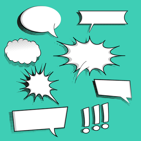 Set of comic speech bubbles on halftone background. Can be used for web and mobile applications. Pop art style. Cartoon design