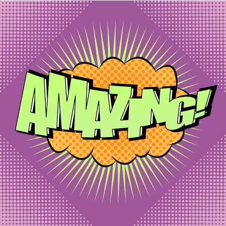 Pop-art comic bubble Amazing text. Cartoon design with halftone effects for comic strip