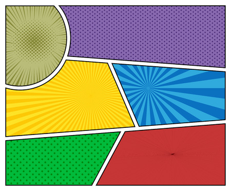 Comic book backgrounds in different colors with radial and halftone effects. Pop-art style blank template