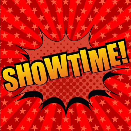 showtime: Showtime comic cartoon text. Pop-art style. The illustration with halftone effects and radial background with stars. Template for web and mobile applications Illustration