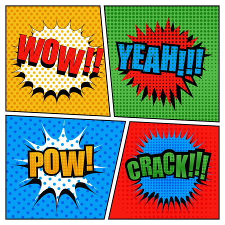 pow: Set of comic bubbles in pop-art style. Cartoon illustration with four scenes. Expressions wow, yeah, pow, crack. Dotted and halftone effects