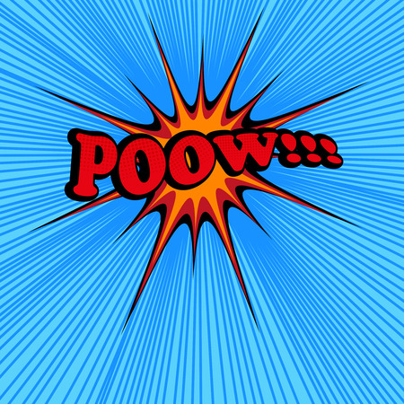 pow: Pow comic text. Pop-art style. Vector illustration with star, blue background and rays. Explosion cartoon. Template for web and mobile applications