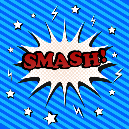 smash: Smash comic cartoon. Pop-art style. The illustration with blot, stars, lightnings, halftone effect and slanting stripes funny background. Template for web and mobile applications