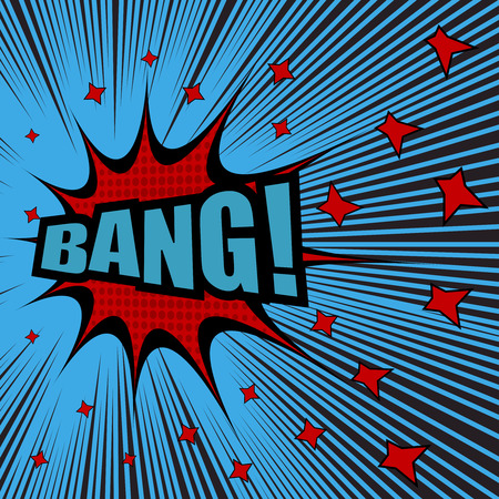 Bang comic text. Pop-art style. Vector illustration with red stars, blue background, halftone effect and black rays. Explosion template Stock Photo