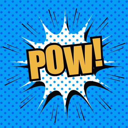 pow: POW comic cartoon. Pop-art style. Vector illustration with title, blot and blue dotted background. Template for web and mobile applications Stock Photo