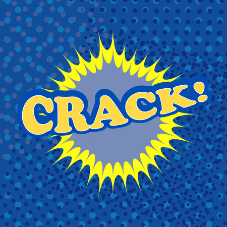 few: Crack comic retro cartoon illustration with a few blue halftone effects. Pop-art style. Template for web and mobile applications Illustration