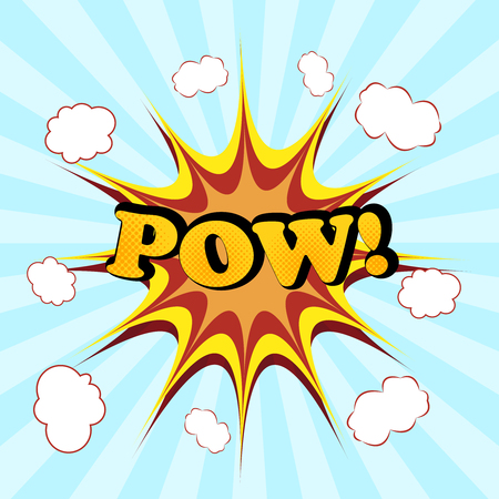 pow: POW comic cartoon. Pop-art style. Vector illustration with title, blot, bubbles and radial funny background. Template for web and mobile applications