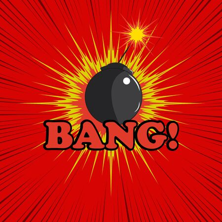 bang: Comic book bomb explosion with bang text, blot and rays. Cartoon illustration in pop-art style