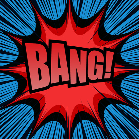 Bang comic cartoon. Pop-art style. Vector illustration with red star, blue background and black rays. Explosion template