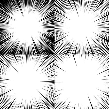 Set of abstract comic book explosion backgrounds. Radial lines. Vector illustration with flash ray blast. Superhero design