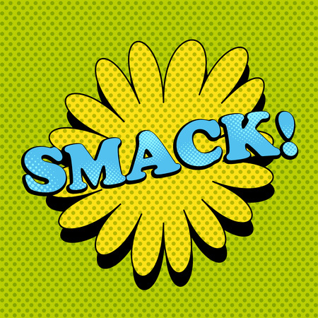 smack: Smack comic wording. Pop-art style. Cartoon illustration with bubble and dotted funny background. Template for web and mobile applications Illustration
