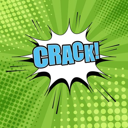Crack komische bubble tekst. Pop-art stijl. De cartoon met vlek, geluid en raster effecten en radiale achtergrond Stock Illustratie