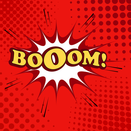 red sound: Boom comic cartoon. Pop-art style. Vector illustration with blot, sound effects and halftone background in red colors. Template for web and mobile applications