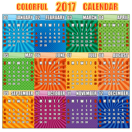 Colorful calendar for 2017 year. Pop-art syle. Set of 12 months with graphic backgrounds. Weeks start from Sunday.