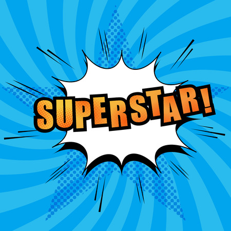 superstar: Superstar comic text with white cloud, sound effects, radial blue background with halftone star in pop-art style. Vector illustration Illustration