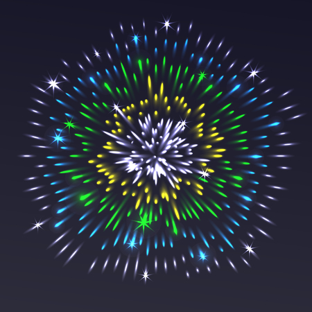 Celebrating festive colorful realistic firework with sparkling glowing light effects and stars illustration