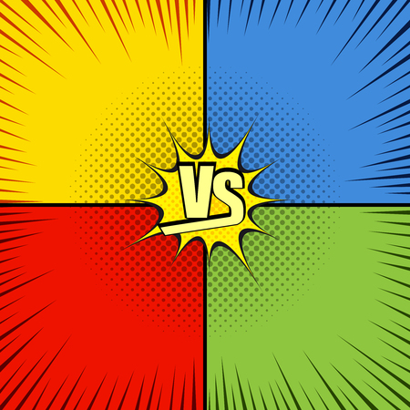 confrontational: Comic fight template with four opposite sides in pop-art style.Versus wording. Representation of confrontational warriors before battle.