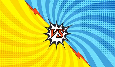 Cómica lucha colorido plantilla con dos lados opuestos en estilo pop-art. Versus redacción. Fondo radial. Representación de los guerreros de confrontación antes de la batalla. Ilustración de vector