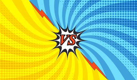 Comic fight colorful template with two opposite sides in pop-art style. Versus wording. Radial background. Representation of confrontational warriors before battle.