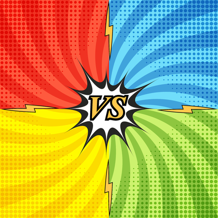 Comic fight concept with four opposite sides and radial background, halftone, lightnings effects. Versus wording in pop-art style.