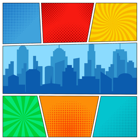 Stripboek paginasjabloon met radiale achtergronden, halftone effecten en stadssilhouet in pop-artstijl.